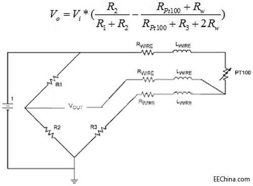 三线制pt100惠斯通电桥接法如下图