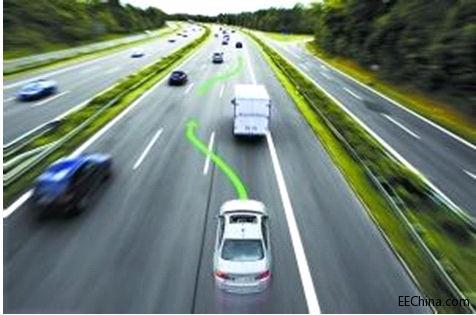 无人驾驶小车,这种小车通常沿着固定的线路行驶,在遇到障碍物高清图片