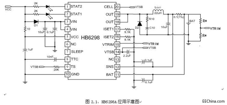 开关型单节、两节锂离子/锂聚合物充电管理芯片HB6298A