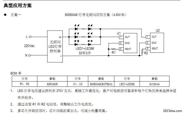深圳中山全新第二代高压侧光源灯带线性恒流方案SM500A8产品资料特点分析