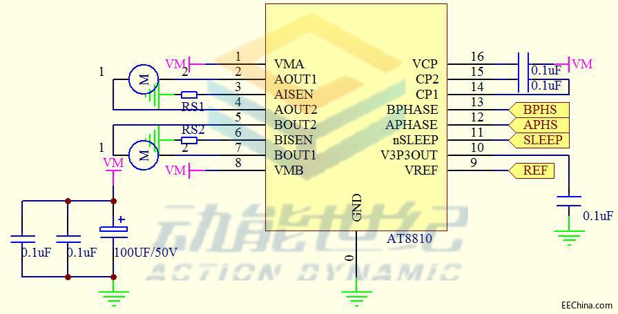 低RDS(ON)电阻双通道H桥电流控制电机驱动方案(AT8810)