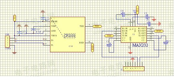 使用CP2101芯片的USB转串口电路图