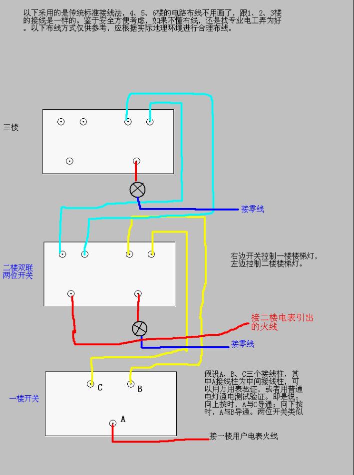双联双控开关电路的三种接线法图片
