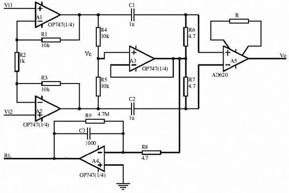 一、概述 生物电信号十分微弱,在检测生物电信号的同时存在强大的干扰,因此,设计高质量的生物电放大器有许多技术困难。 本文介绍了使用ADI公司生产的集成化仪用放大器和运算放大器,设计了几种新的结构形式的高性能生物电前置放大器。  图1 生物电前置放大器设计应用一  图2 生物电前置放大器设计应用二  图3 生物电前置放大器设计应用三 二、几种新型高性能生物电放大器 1 设计应用一 该放大电路由四部分构成:仪用放大器A5构成的前级放大器,运放A4构成后级差分放大器,直流补偿放大器A3以及A1、A2构成右腿驱动