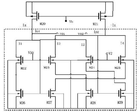 69 文章 > 一种模拟除法器的设计及仿真验证    图2 中虚线部分电路