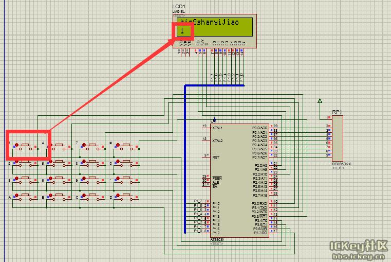 【proteus学习之路】序列之11:4x4按键和lcd1602