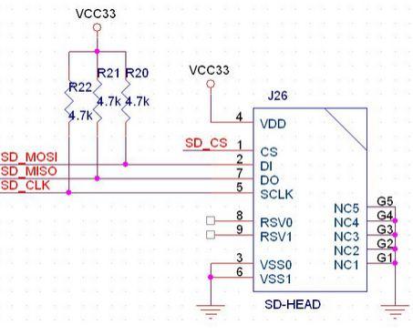 sd卡的接线图(g5为8脚旁边的那两个没用管脚)