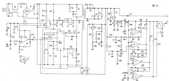 集成电路为辅助,进行电流分段控制,这些集成电路工作需要电源、通电起始、启动电路工作为它们供电,然后由辅助电源逐步建立稳定的电源,为这些集成电路工作提供能量。 这些充电器有些故障类同,例如空载有较低输出电压,带负载输出消失。多数是TL494损坏,或者供电电路有故障。空载有输出说明自激正常,但是没有建立起正常的控制系统,带负载自激条件被破坏停振,输出电压消失。 对于空载无任何输出的半桥式充电器,在保险管损坏的情况下,首先怀疑两只开关管是否击穿,在更换NPN管的同时,检查2.