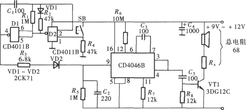 用cd4046组成的相移式报警声发生器