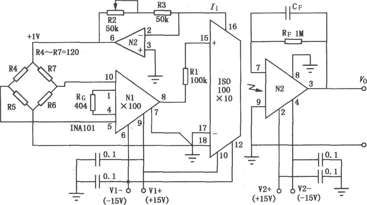 由ISO100构成的精密电桥隔离放大电路主要用于称重、测压系统。ISO100是一种小型廉价的光隔离放大电路,其内部通过LED发光激励,光电接收管接收传输。如图是ISO100在精密电桥隔离主放大电路中的应用。电桥输出0~-l0mV的单极性信号,先经INA101高精度仪表放大器放大100倍,然后经100k电阻Rl送至ISO100的单极性输入端,为保证ISO100的线性工作,仪表放大器INA101的输出必须低于-2mV的负值,由于ISO100处于单极性放大状态,故其内部的恒流源对放大信号是无用的,这里脚输出