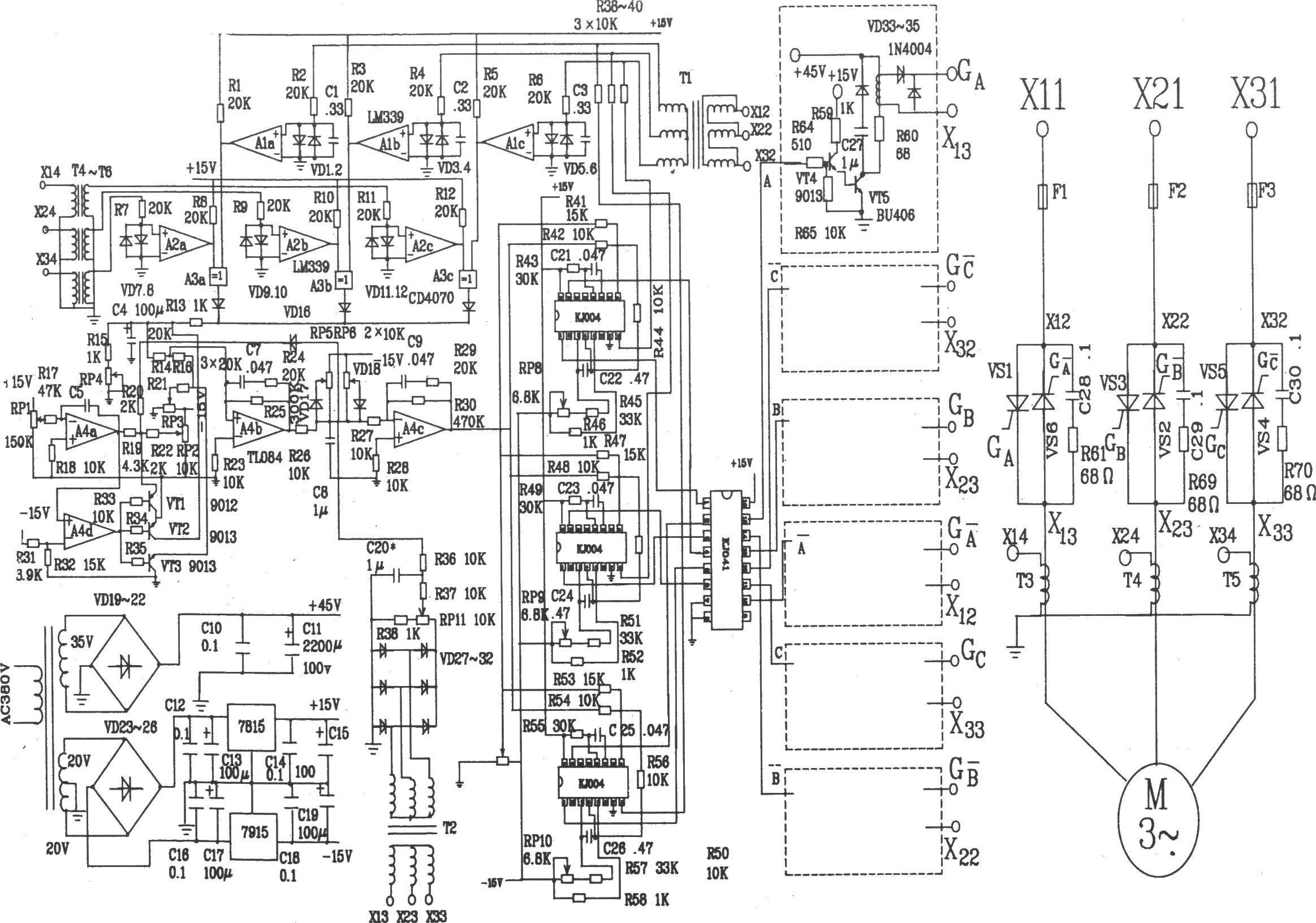 69 电路 > 可控硅移相触发器的应用:djk3型三相异步电机节电器