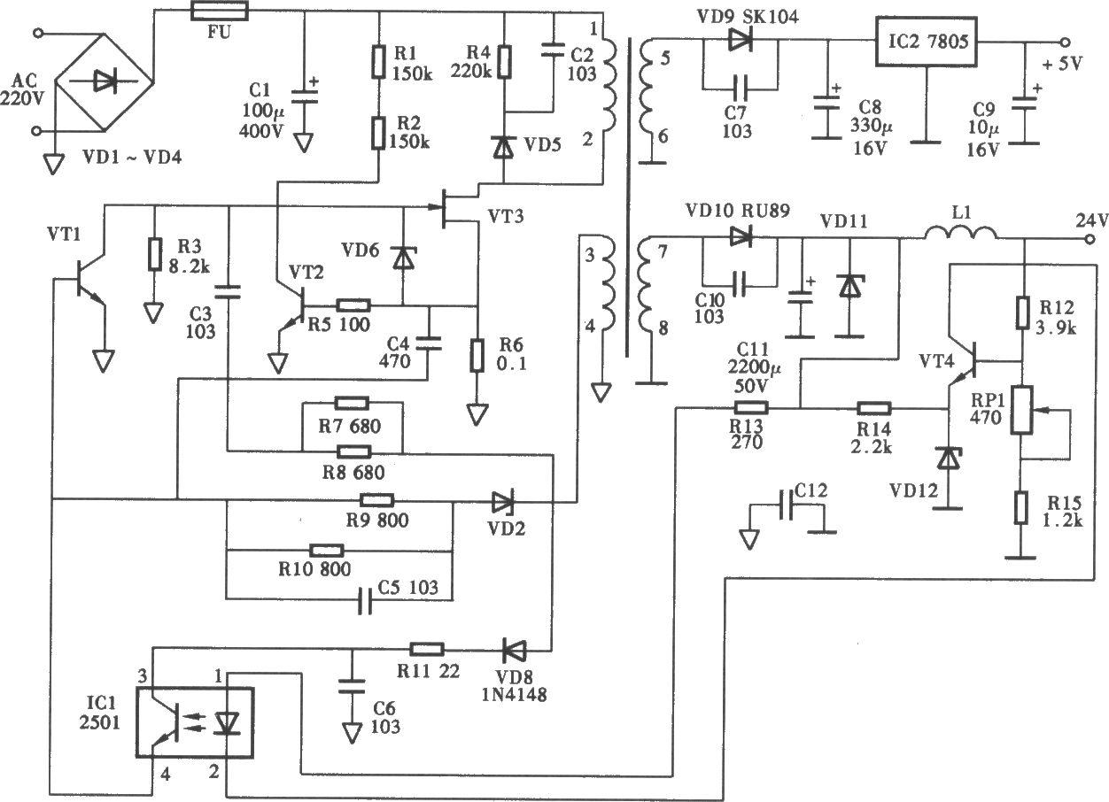 夏普f0-375cn型传真机开关电源电路