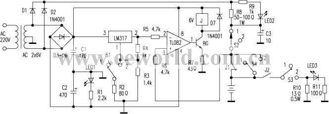 该电路能使两节镍镉电池,当充电至3V或放电至1?34V时,自动断开充电或放电回路,有效地防止过充电或过放电。   电路见附图。D1、D2整流后的电压供给电池充电,D3~D6整流后的电压供给比较、控制电路。TL082构成比较电路,其2脚由LM317输出提供一个恒定电压作为参考基准,3脚电压来自电池。2、3脚的电压比较后由1脚输出控制BG的开和关,再通过继电器来控制充电或放电回路。   1?