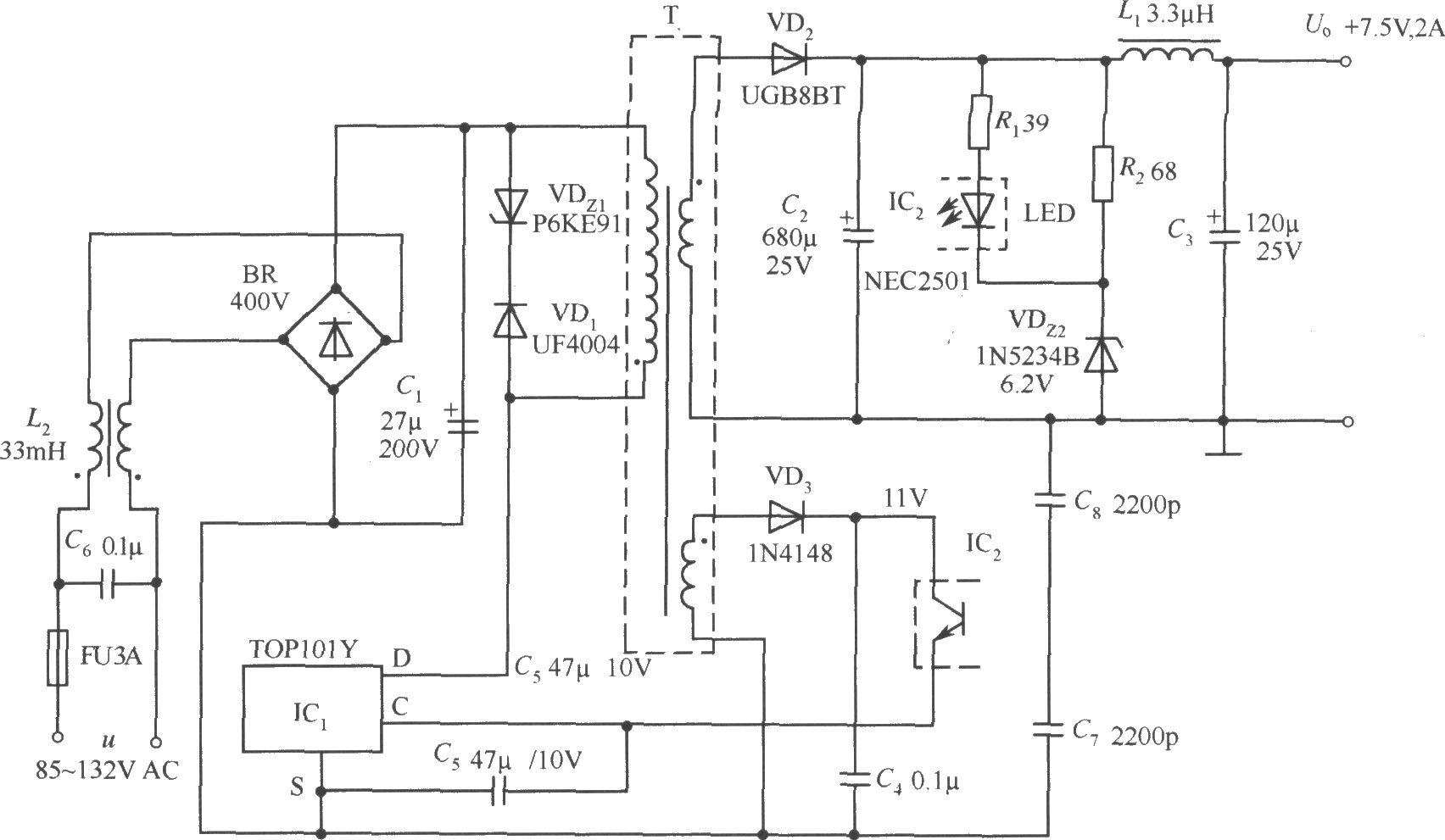top101y构成的 7.5v,2a输出的开关直流稳压电源电路