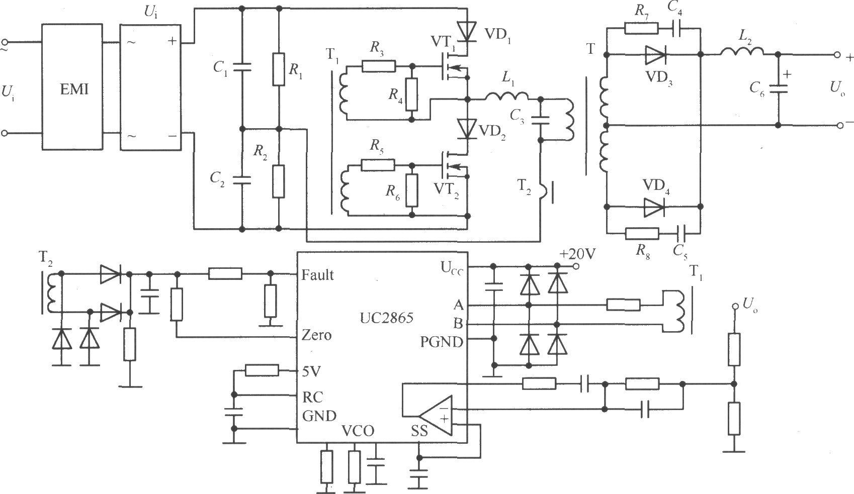 输入单相交流;输出直流;主开关管采用mosfet;功率变换电路采用半桥