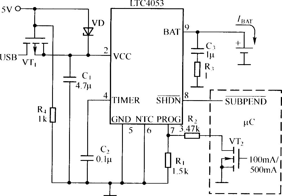 实用的usb接口锂离子电池充电器电路(ltc4053作为控制