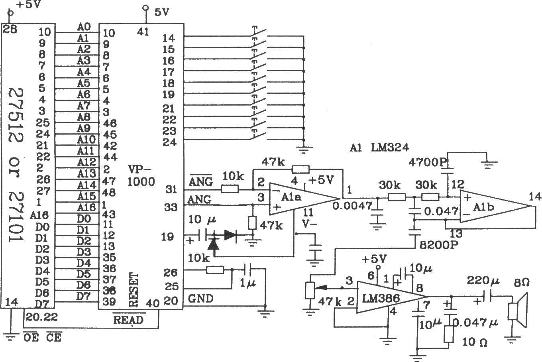 位的eprom应用电路图   为了延长放音时间,可以扩展存储器到大于1m位.