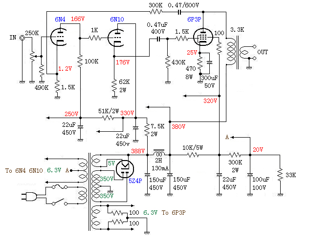 6p3p单端功放电路图