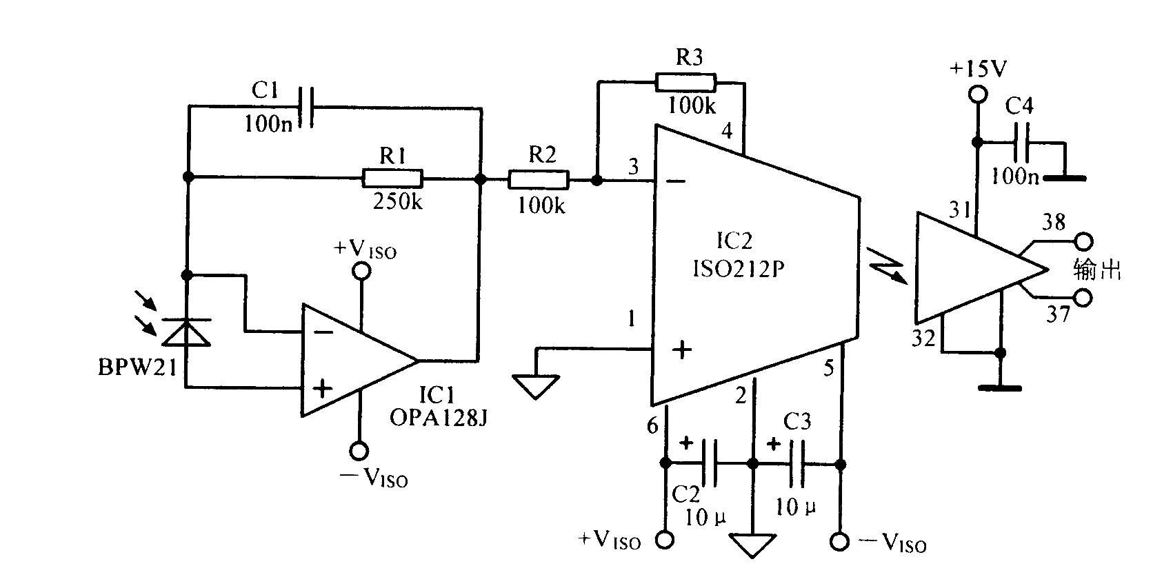 使用光电二极管隔离的放大电路