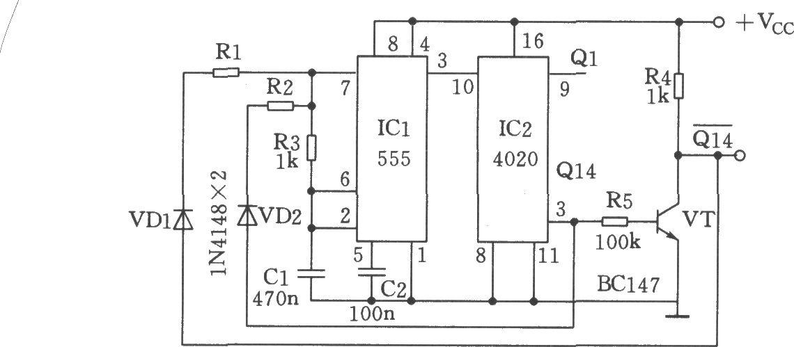 69 模拟电子技术 69 电路 > 长周期通/断的多谐振荡器