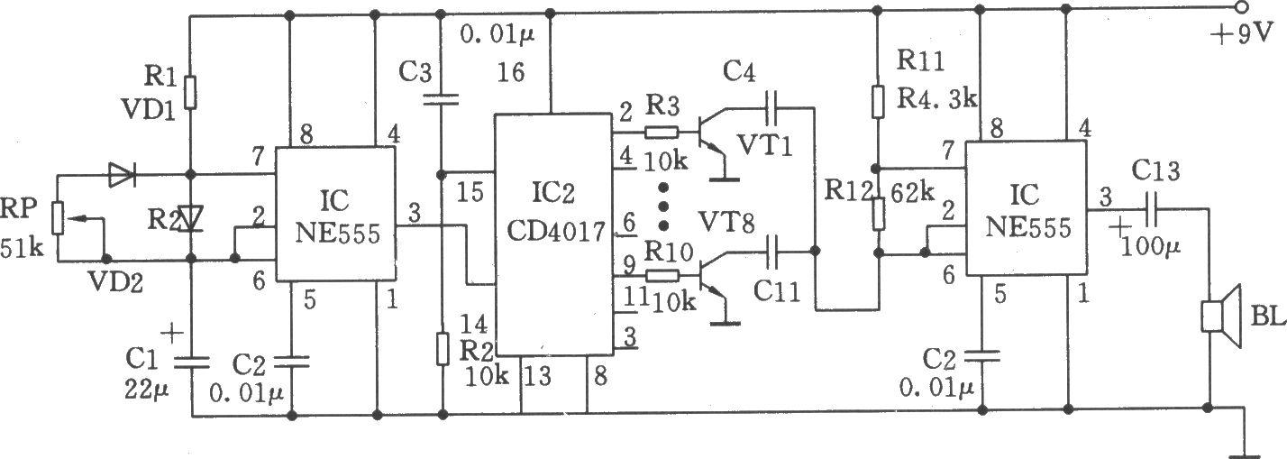 由ne555,cd4017构成的音频振荡器