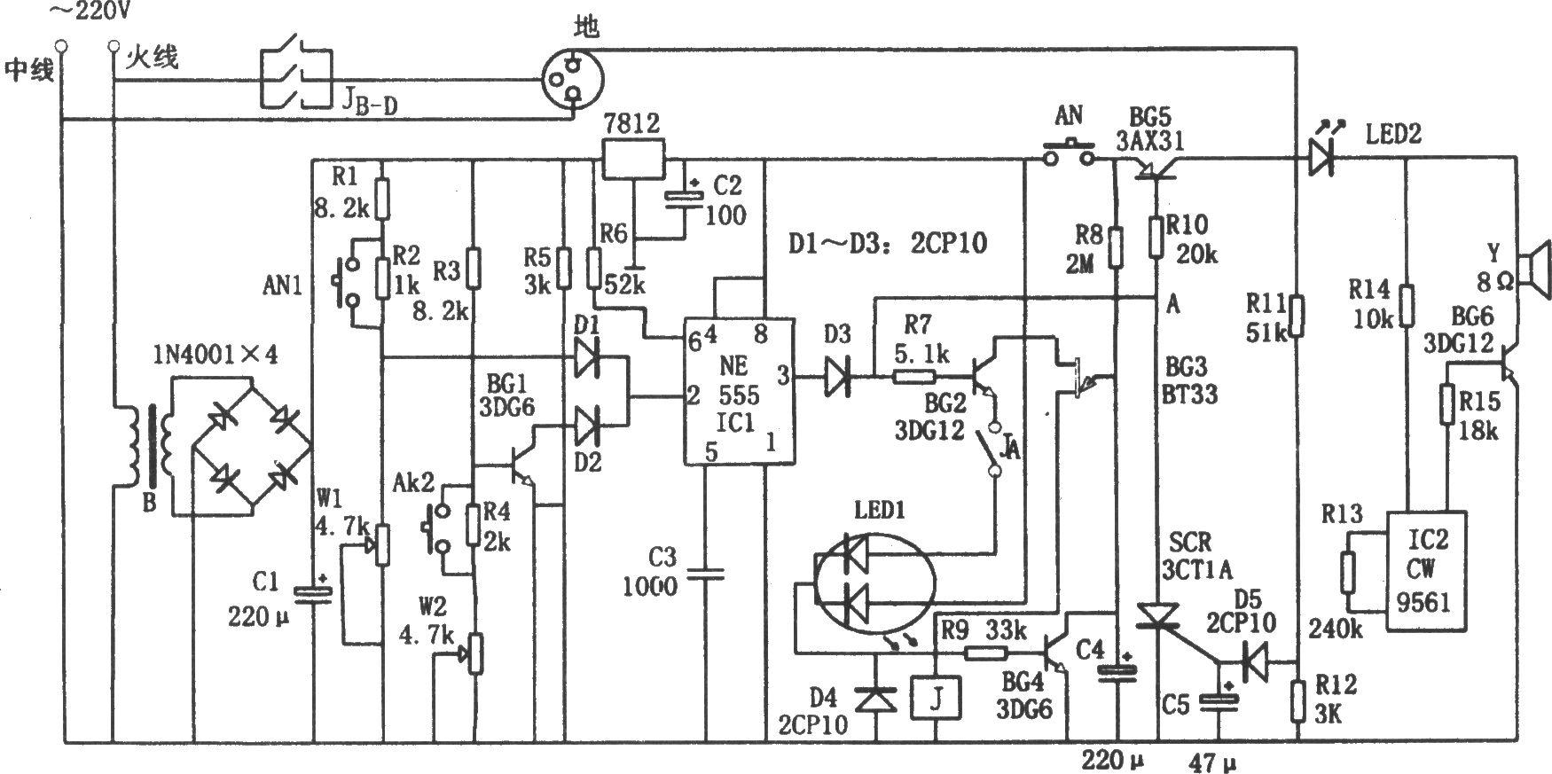 如图所示为电冰箱外壳漏电报警器电路。该电路由电源电路、单稳态触发器、检波与滤波电路、报警电路等组成。 当插在三孔插座上的冰箱一旦发生漏电时,泄漏电流从电源火线经冰箱外壳至三线插座的地线端,再经R11、R12后至电源中线构成回路,且泄漏电流经R11、R12分压,再经D5检波及C5滤波后,触发可控3CT1A导通,使A点电位钳位于0.