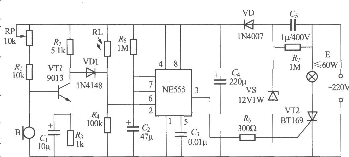 非二线制声光控楼梯延迟开关电路(2)