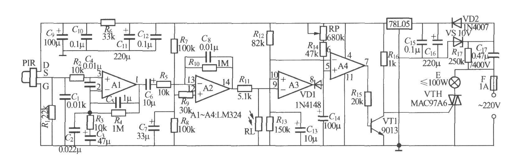 如图所示是一个热释电红外感应自动灯,可用于楼梯走道、卫生间等场合。能做到人来灯亮,人走灯灭,并且在白天能自动封锁,灯不会点亮。PIR可采用P228型等热释电红外传感器,为提高其灵敏度,最好为其加装菲涅耳透镜,透镜的焦点应位于传感器的感应窗口。RP为电路延迟时间调节电位器,也可换用普通固定电阻器。