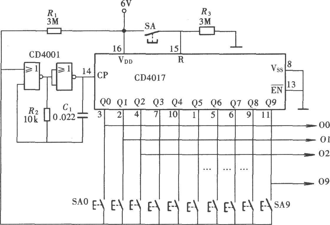 由cd4017,cd4001组成的十档互锁开关控制器电路