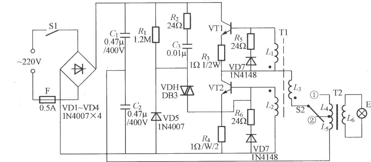 图中,vt1, vt2可选用mte13003~13005型大功率管,β值在20~40问
