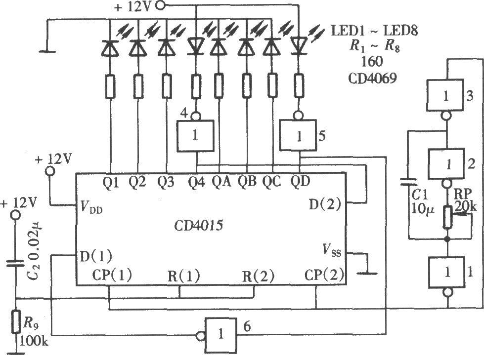 如图所示的动感闪烁灯主要采用一只双四位串入/并出移位寄存器CD4015组成。该电路由移位寄存器CD4015组成LED灯光移动闪烁电路,由六反相器CD4069组成移位脉冲发生器。在移位脉冲的作用下,移位寄存器的输出端依次输出驱动脉冲,通过驱动发光二极管的发光,形成光点逐个发光又逐个熄灭的移动闪烁效果。