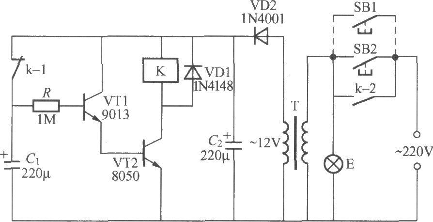 使用继电器的延迟灯电路