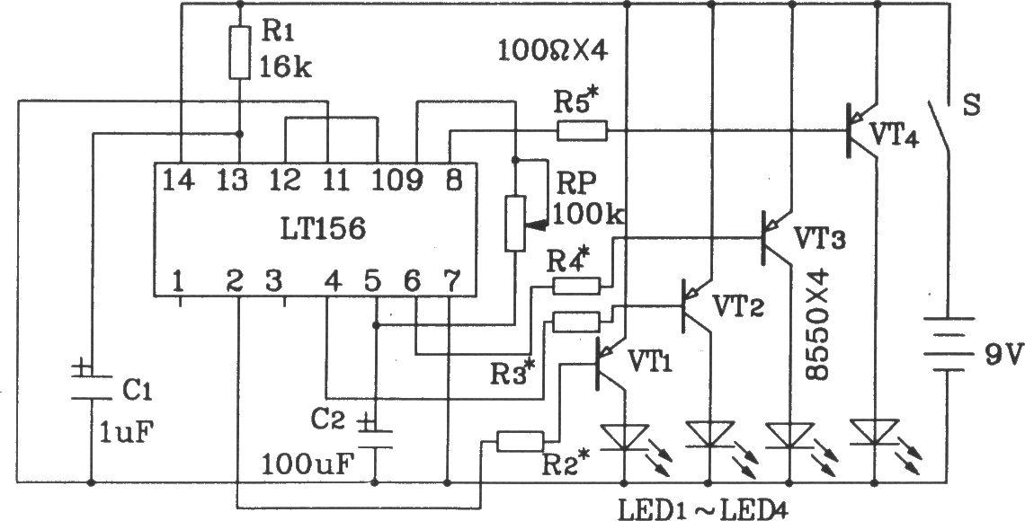 lt156单片4路彩灯控制集成电路典型应用电路