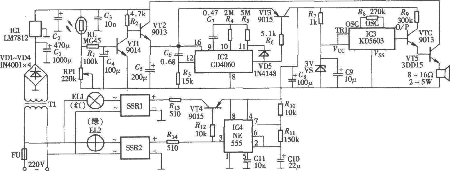 由ne555,cd4060构成的光控定时语音广告灯箱电路