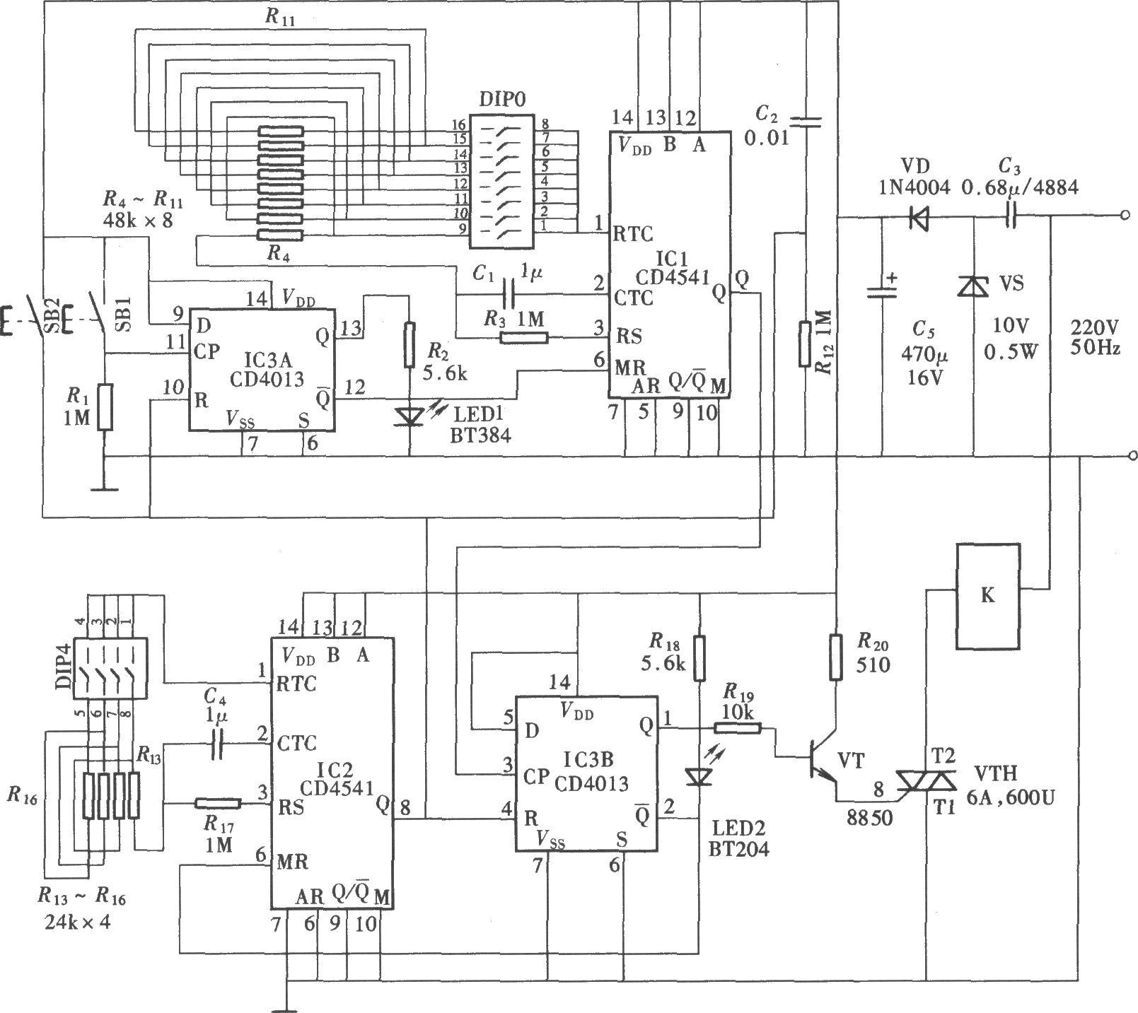 因此它比采用电位器来调节定时时间要方便和准确.电路组成如图所示.