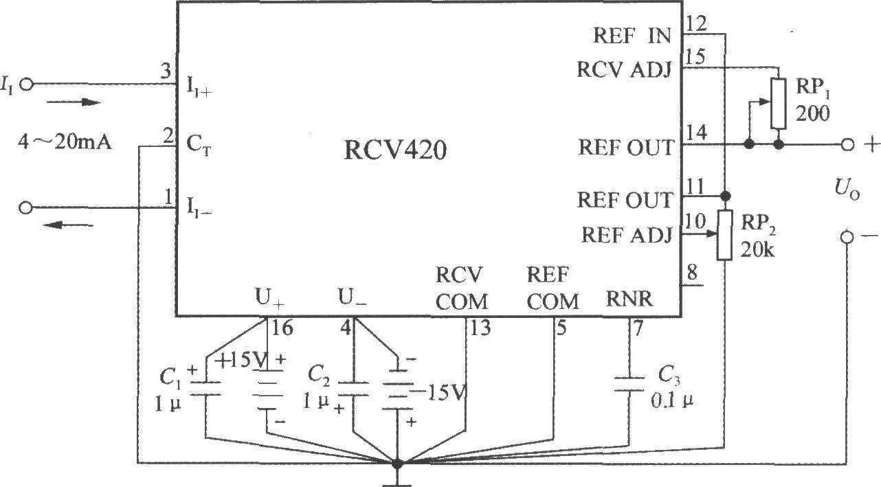 精密电流/电压转换器rcv420的典型应用电路