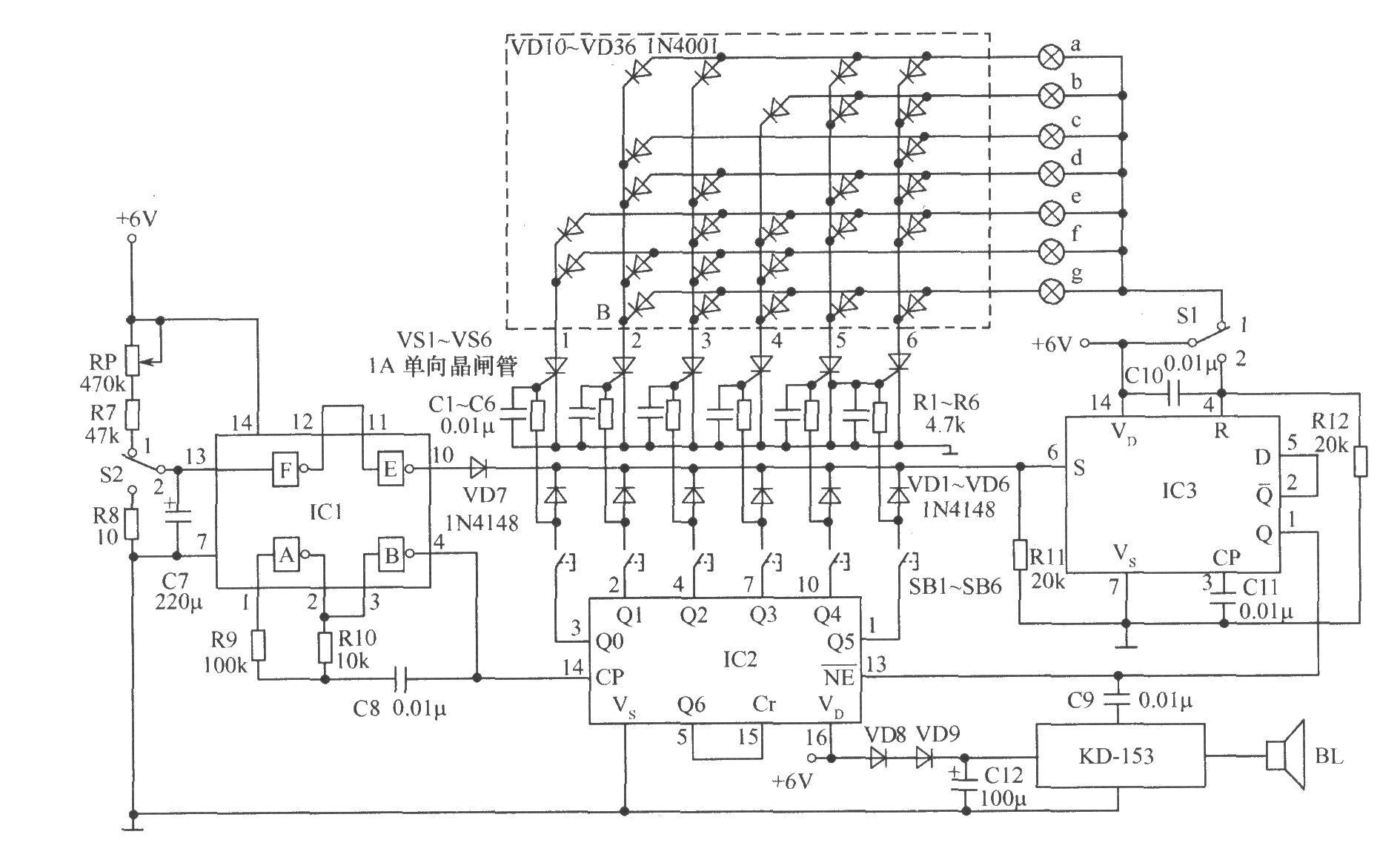 集成电路及部分常用元件,造价低廉。 元器件选择:IC1是一块6非门CD4069,只用了其中的A、B、E、F 4个。IC2为一块BCD计数器/时序译码器CD4017。IC3为一块双D触发器CD4013,只用了其中的1/2。KD-153为一叮咚声音乐片,触发一次,连响3声叮咚声,也可用其他音乐片代替。电源采用6V蓄电池或直流电源。所有电阻均为(1/8)W碳膜电阻;电容除C7、C12为电解电容外,其余均为普通瓷片电容。其他元器件参数如图所示。