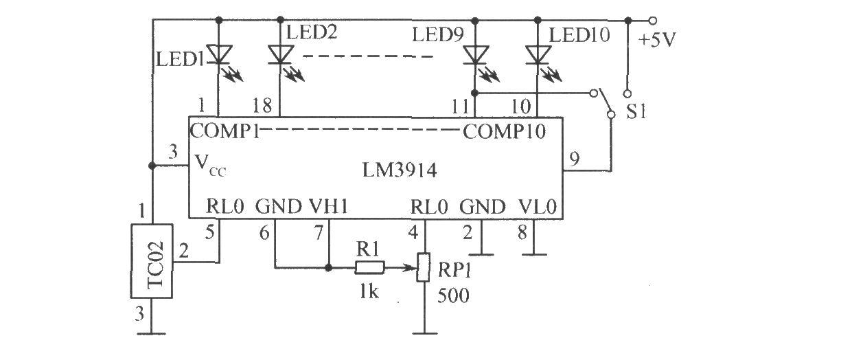 如图所示为温度测量电路。图中,S1是点/条显示模式转换开关。在电源电压Vcc>8V时,LED1~LED10可不用串接限流电阻。LED发光时的电流由4、6脚外接电阻设置,假设4、6脚外接电阻为1.2k(包括R1及BP1中心头至4脚间的电阻),与LM3914内部分压器10k总电阻并联,使4、6脚间的等效电阻为10.