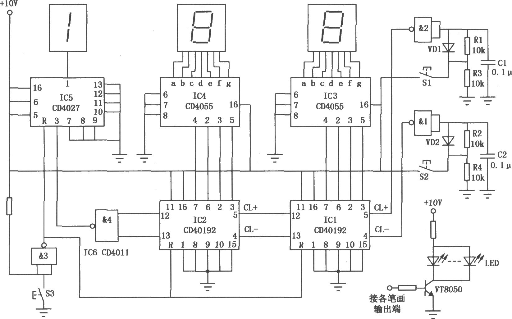 球赛计分器的电路如图所示,它用于记录并显示球赛成绩。第一个数码管仅有两种状态,即熄灭或显示l,后两个数码管可显示0~9十种状态,故该计分器的最高计分可达199分。电路主要由计数器、译码电路、触发电路、显示电路及防抖动开关电路等组成。