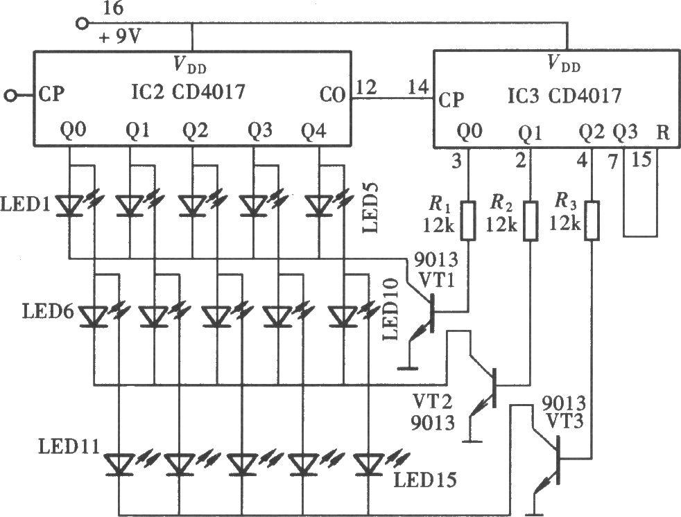 由cd4017组成的多路显示器电路