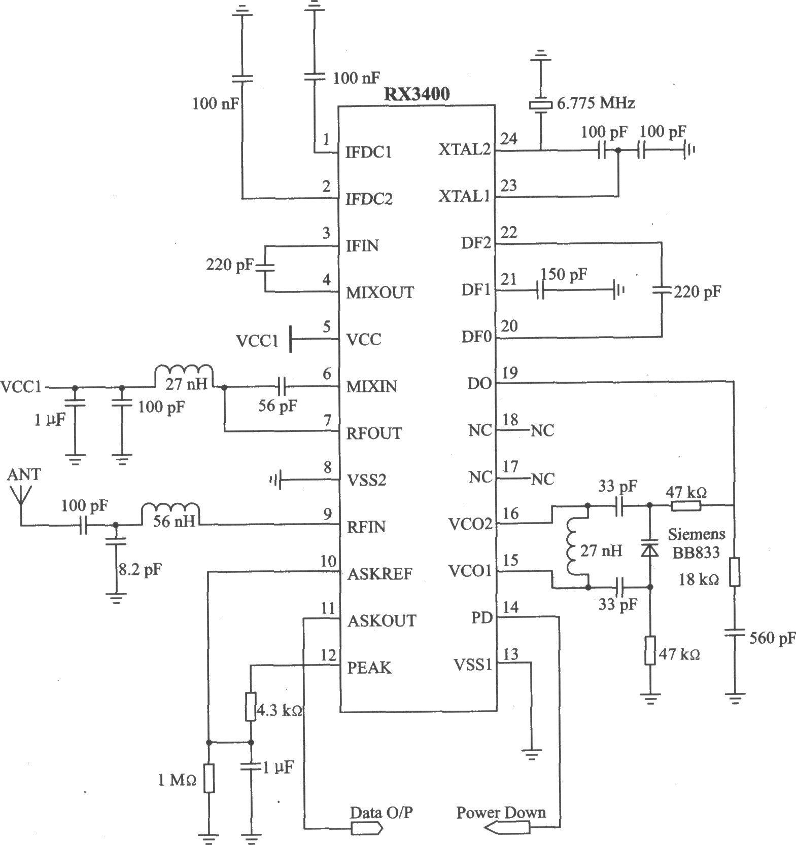 rx3408是uhf锁相环(pll)与中频调频(fm)接收组合的低功率接收器