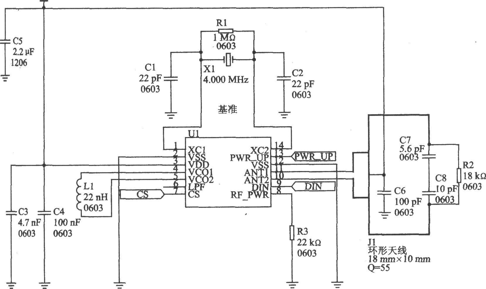 nRF402是单片UHF发射器,符合ETSI规范EN 300 220一I V1.2.1标准,适合报警器、自动读表、无键进入、家庭自动化、遥控和无线数字通信等应用。 主要技术特点如下: 工作频率为433.92或434.33 MHz; 数据传输速率为20 Kb/s; FSK调制方式; 电源电压为2.7~3.6 mV; 最大射频输出功率为10 dBm; 工作电流为8 mA,待机模式电流为8A; 天线接口是差动式结构,适合PCB天线,推荐天线通道差动负载阻抗为400 。  nRF402的应用