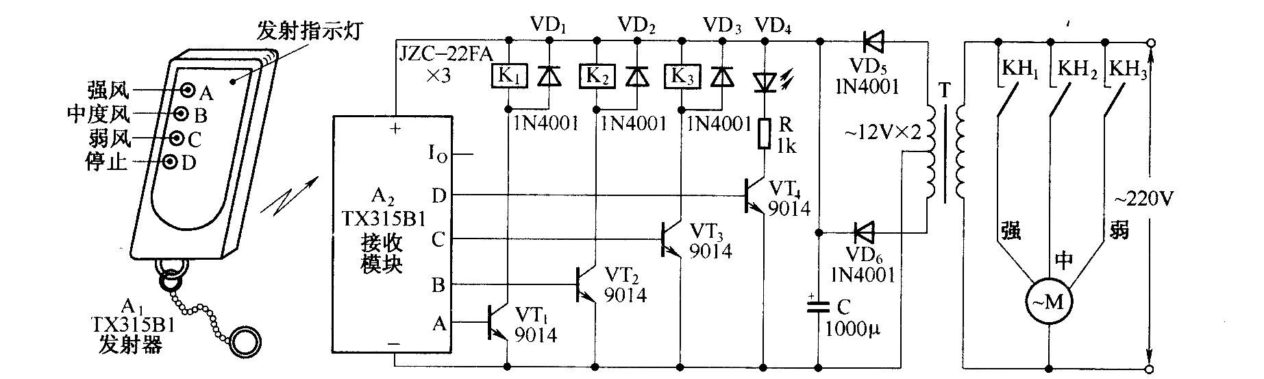 电风扇遥控调速电路(tx315b1)