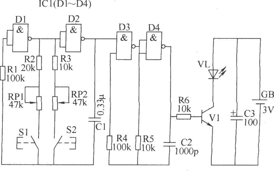 本例介绍一款双路红外遥控开关,它能分别遥控两路负载,可用于控制灯具、电风扇、加湿器、空气清新机和排风扇等家用电器。 该红外遥控开关电路由红外发射电路(遥控发射器)和红外接收控制电路组成。 红外发射电路由1kHz音频振荡器、3kHz音频振荡器、40kHz载波振荡器和驱动输出电路组成,如图所示。  红外发射电路 红外接收控制电路由红外线接收头IC2、音频译码器、反相器、双稳态触发器(A1、A2)和控制执行电路组成,如图所示。  红外接收控制电路 调整RP1和RP2的阻值,可分别改变1kHz音频振荡器和3kHz