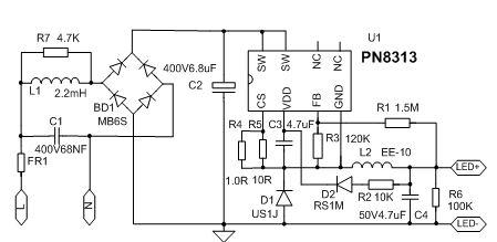 电路图中r1和r3为fb分压电阻,可通过辅助绕组采样出的电压,等比例调节