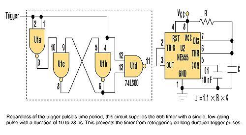 由与非门构成的555定时器触发锁存电路