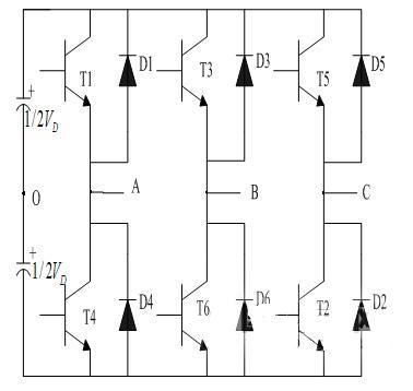 采用igbt作为可控元件的电压型三相逆变电路如图3所示,可以看出电路由